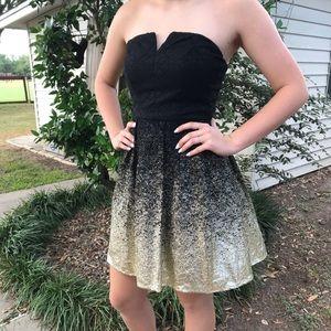 Beautiful black & gold semi formal strapless dress